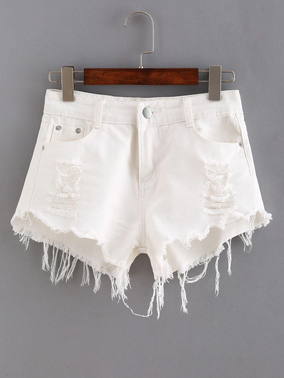 2db5ea06d Pantalón corto vaquero raído de dobladillo natural -blanco   ESTILO ...