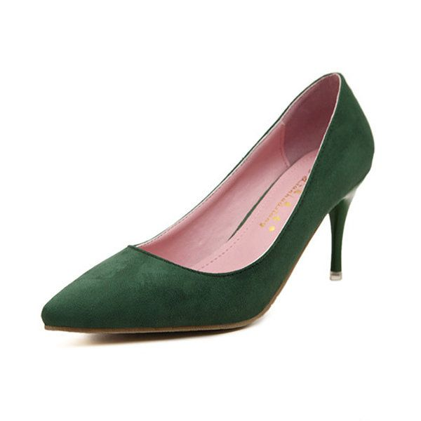 Suede Pure Color Candy Color European Style Slip On High Heel Stiletto Pumps