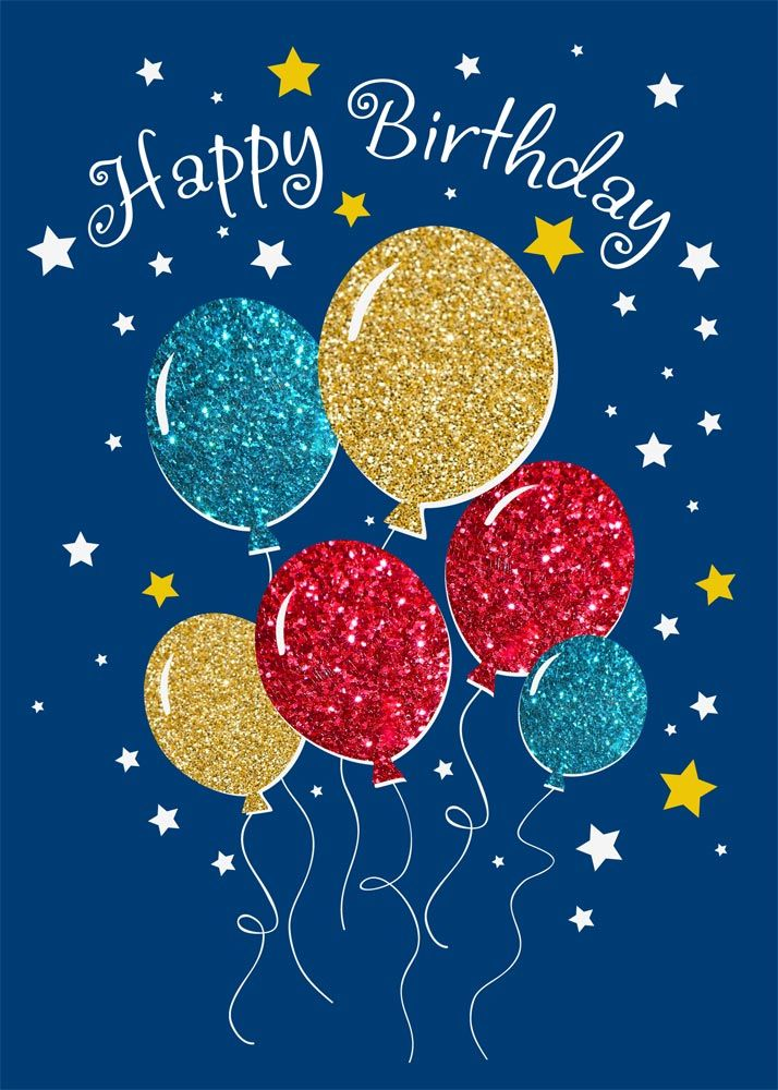 Glitter Balloons Birthday With Images Happy Birthday Cards