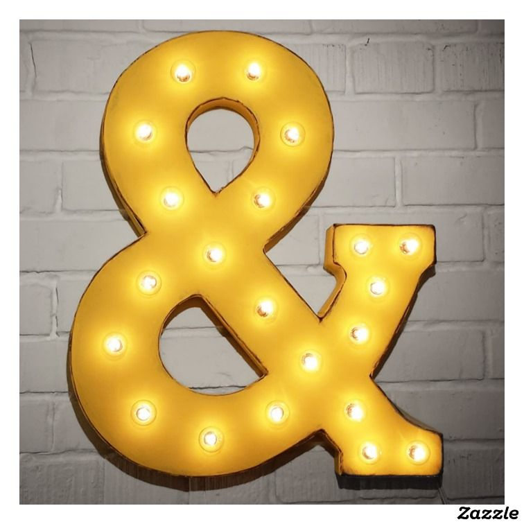 "Custom 21"" Yellow Ampersand Vintage Marquee Sign 