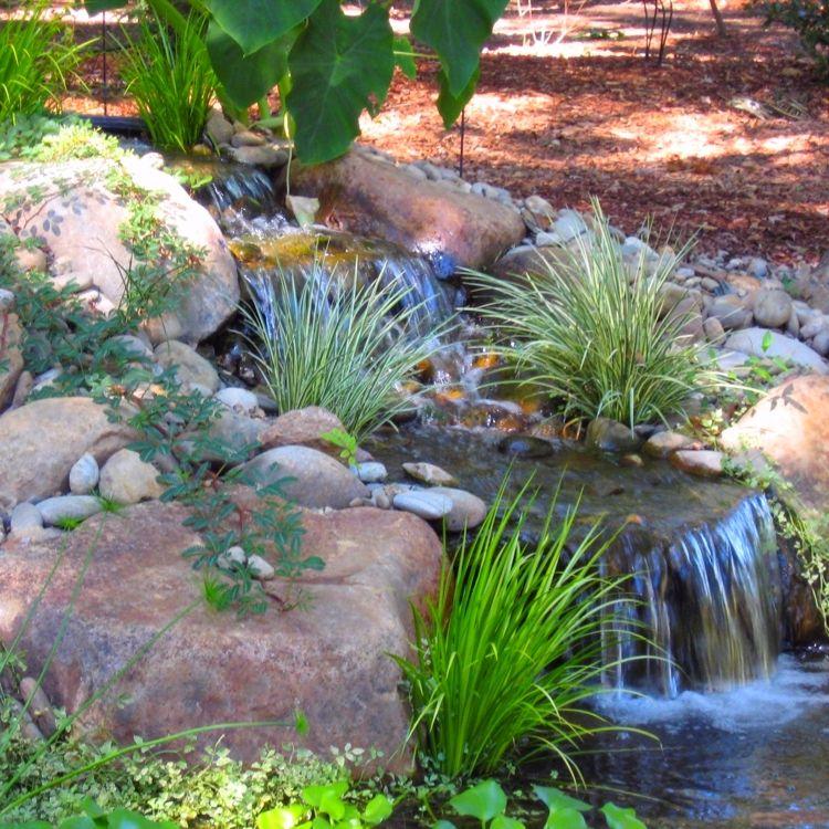 Backyard idea water feature todo con piedras for Espejos para jardin