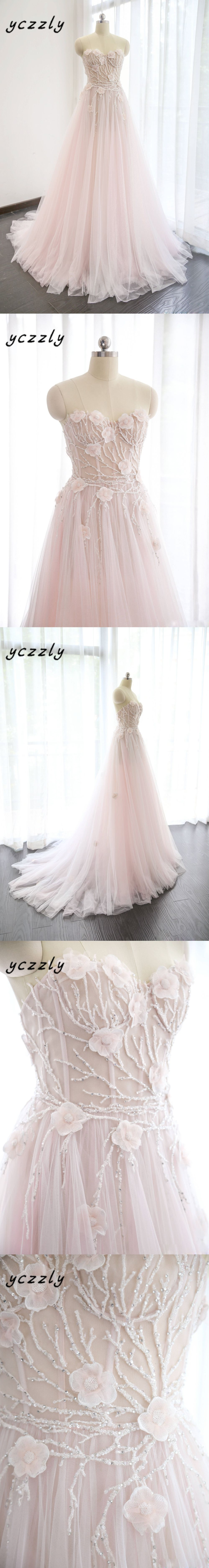Romantic light pink sweetheart aline embroidery crystal bridal gown