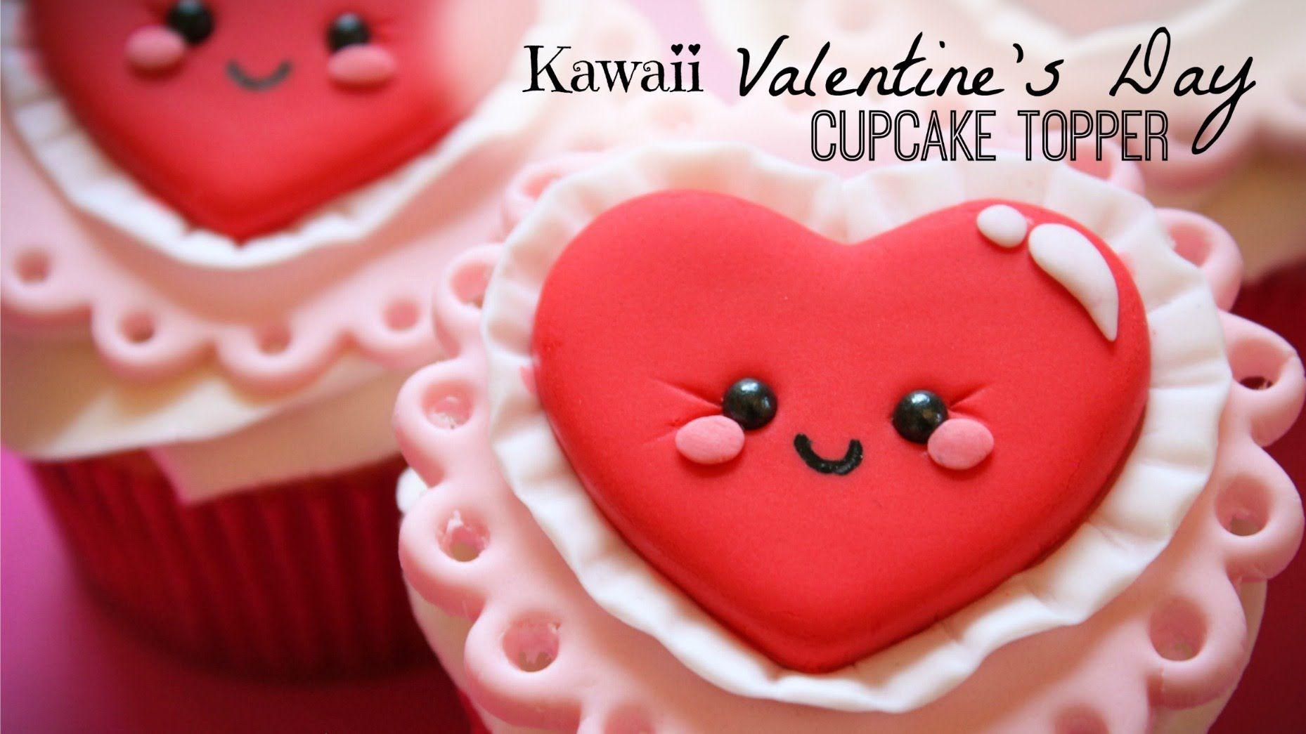 Kawaii Valentine S Day Cupcake Topper Nom Noms Pinterest