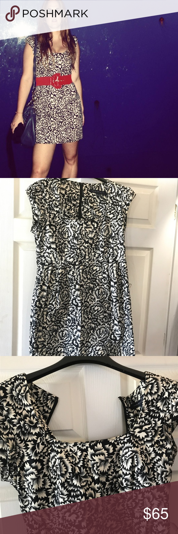 French connection Cap Sleeve mini dress Cotton and elastane, very thick stretchy material and very flattering. Waist is 15 inches across flat, shoulder to hem 35 inches, back zip French Connection Dresses Mini