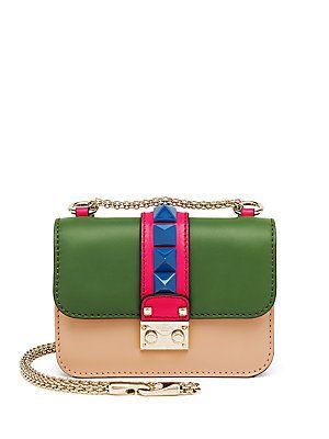 ce56e99b315 Valentino Rocklock Small Colorblock Leather Crossbody Bag | These ...