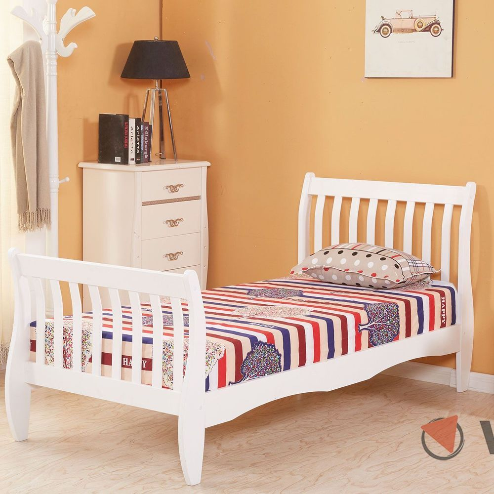 Best White Wooden Bed Frame Luxury 3Ft Single Size Bedroom 640 x 480