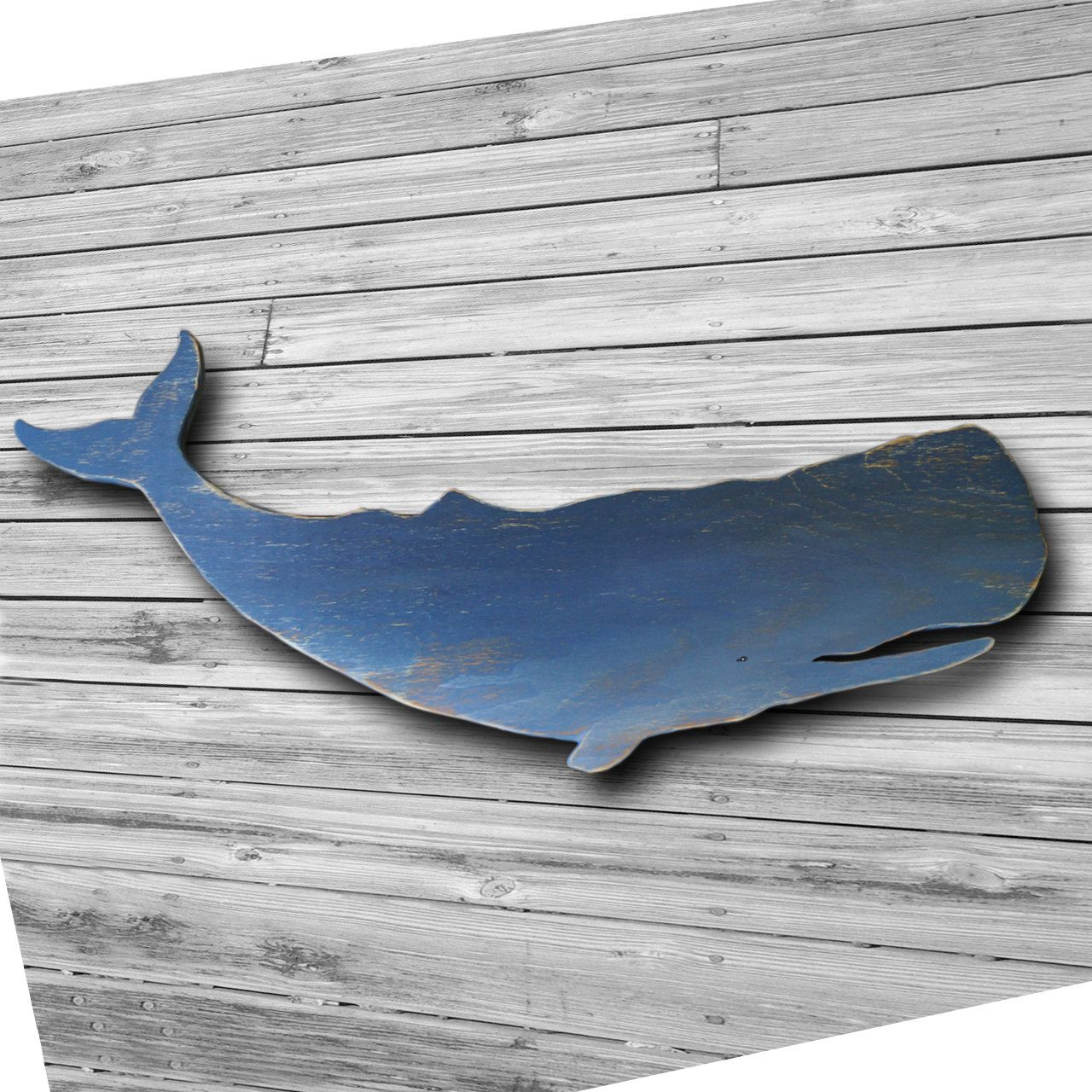Distressed Wood Whale Art Wall Hanging Folk Style 46 Inch Blue