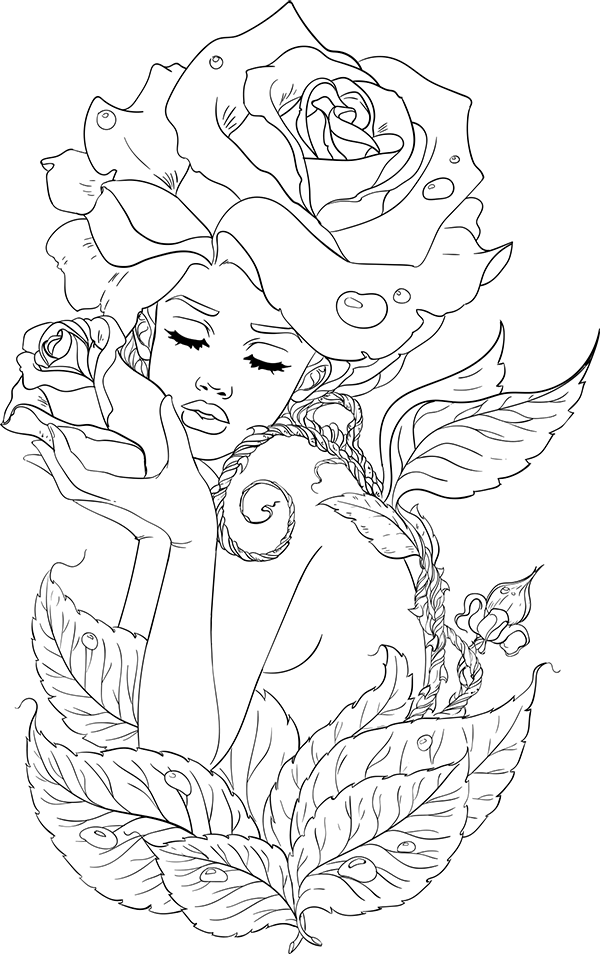 lineartsy adult coloring page spring | Fairy coloring ...