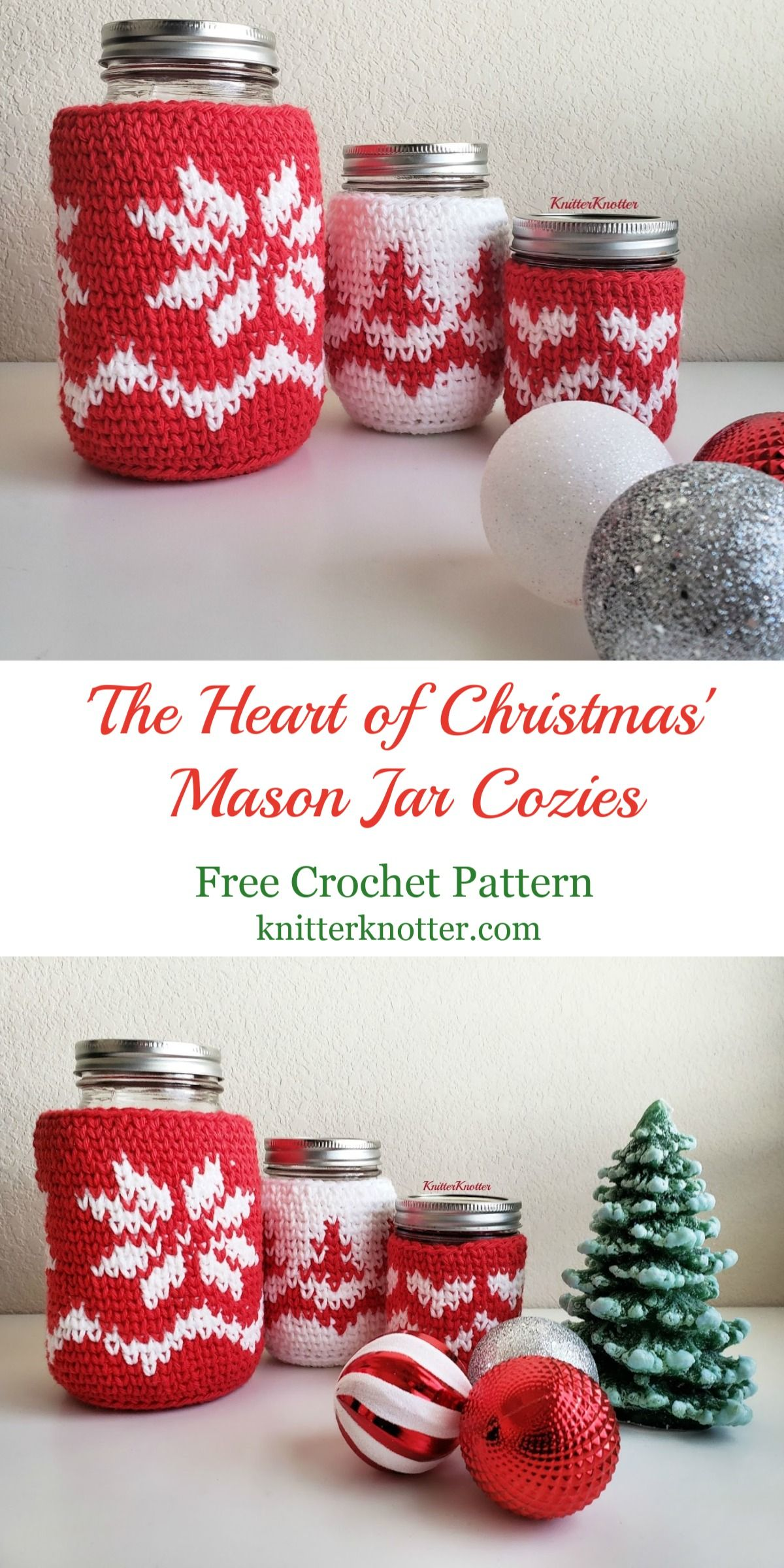 The Heart Of Christmas Mason Jar Cozies Free Pattern Mason Jar Cozy Christmas Mason Jars Christmas Crochet Patterns