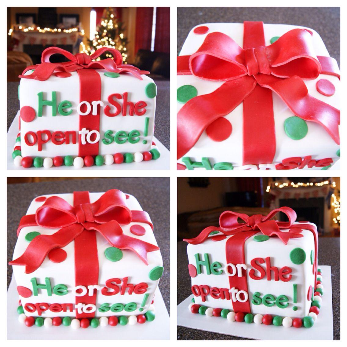 Christmas Present Gender Reveal Cake Things I Ve Made Gender