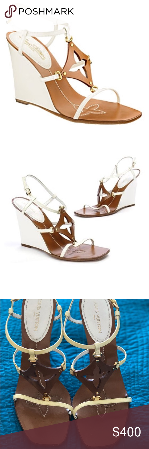 51be101e5bfc Louis Vuitton capricieuse wedge sandals sz. 81 2 The brown leather in front  forms