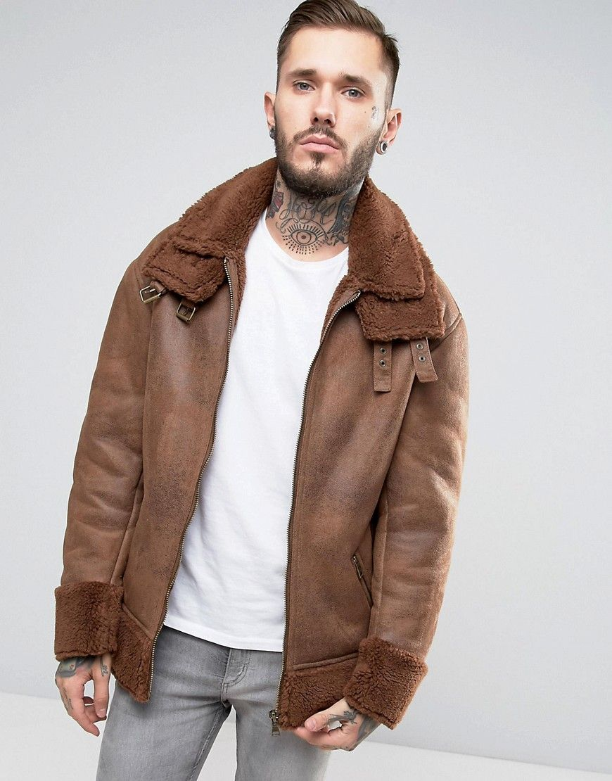ASOS Oversized Faux Shearling Jacket in Tan Brown