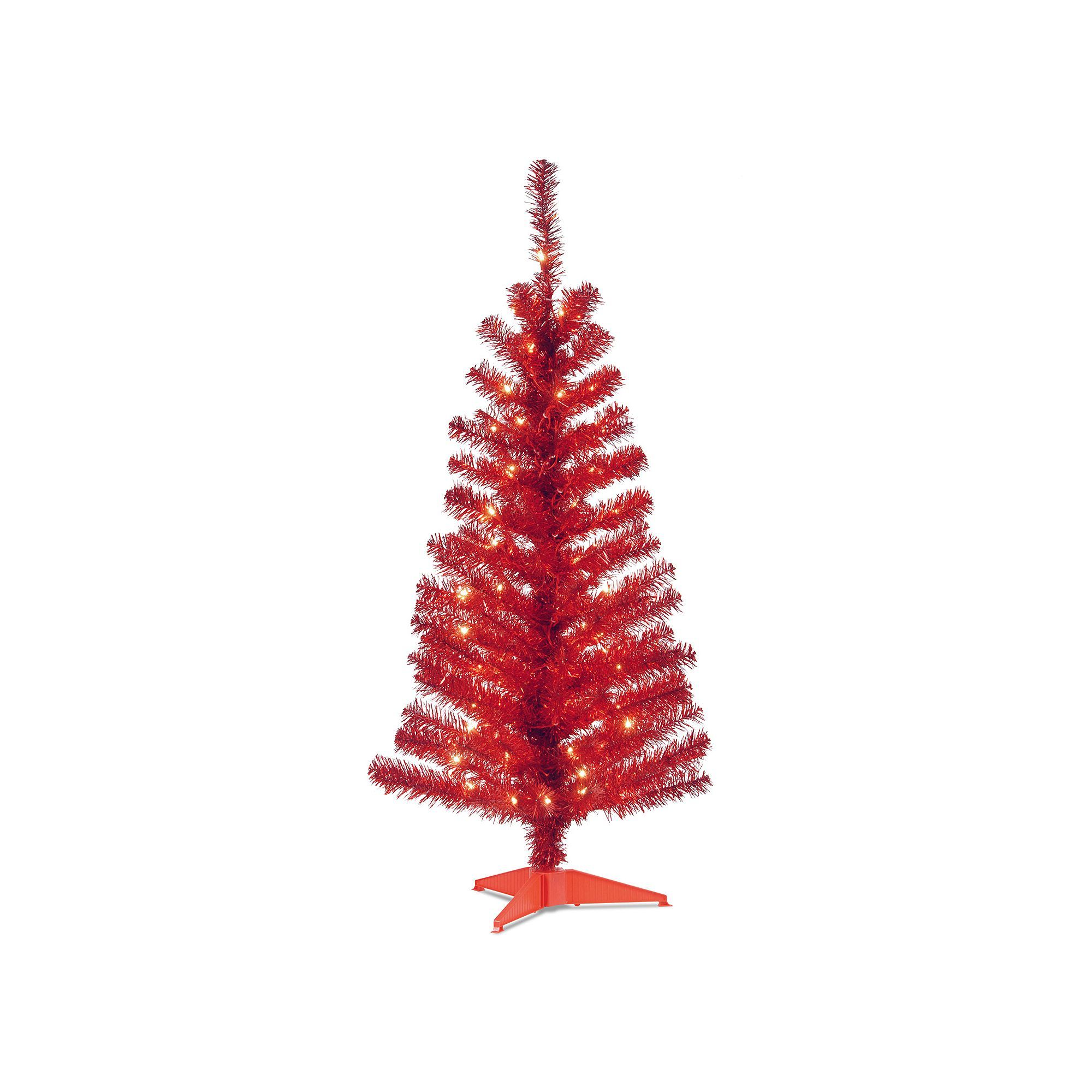 National Tree Company 4-ft. Pre-Lit Tinsel Artificial Christmas ...