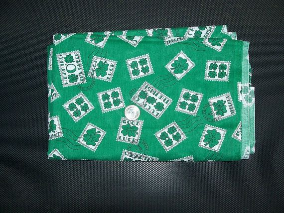 FABRIC SEWING CRAFTS Green White Shamrock Luck by JunqueInMyTrunks