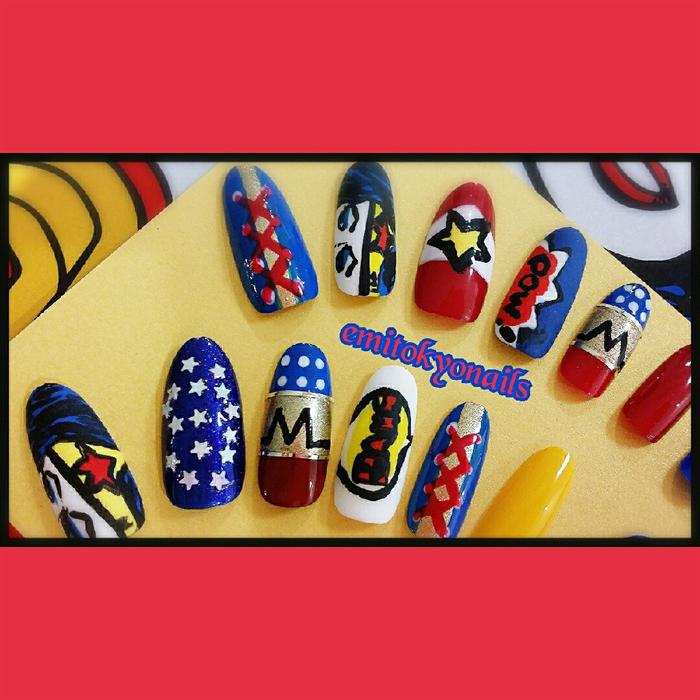 Hand Painted Fake Nails Round/Stiletto Nails,Wonder Woman FULLSET 20 ...