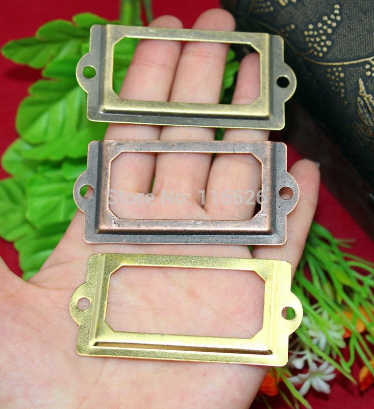 30Pcs Bronze finish Antique Iron Label Frame Card Holder 70x33mm ...
