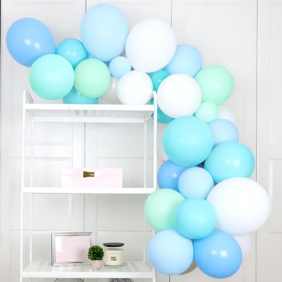 Pastel Matte Blue Balloon Garland Kit. Baby Boy Balloon Arch Set, Balloon Arrangement for Baby Showers, Boy First Birthdays, Baptisms #balloonarch