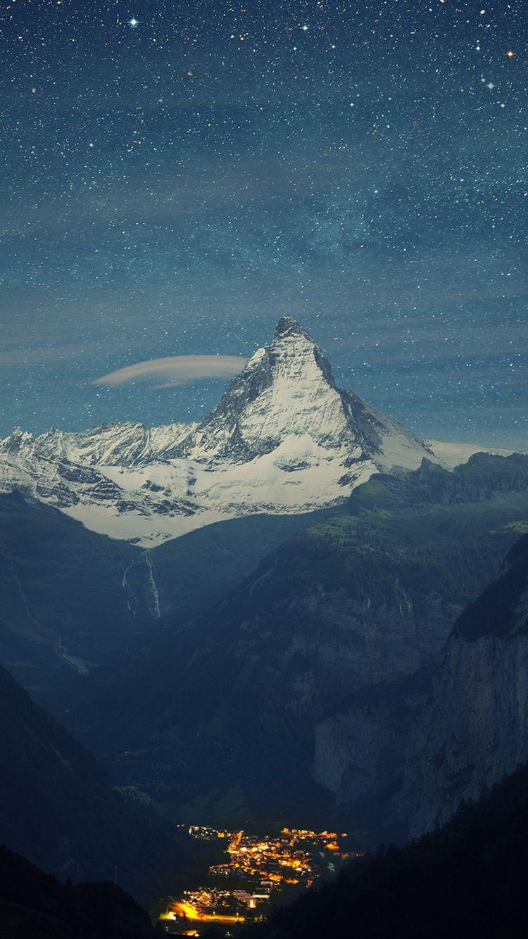 Matterhorn Mountain Switzerland Blue Night Iphone 6 Wallpaper Landscape Wallpaper Beautiful Landscapes Mountain Wallpaper