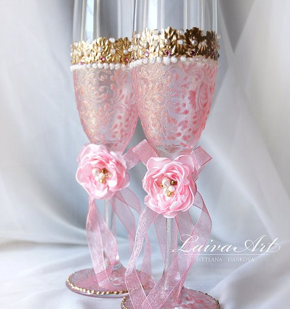 Rose Gold Wedding Champagne Glasses Wedding Champagne