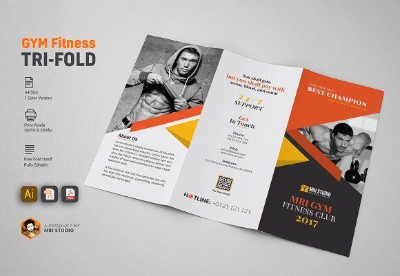 Gym Tri Fold Brochure By Mri Studio On Creativemarket  Brochure