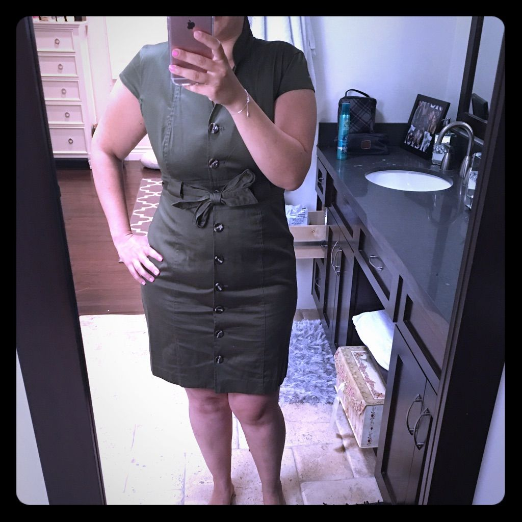 Belly button piercing plus size  Olive Green Conservative Dress  Products