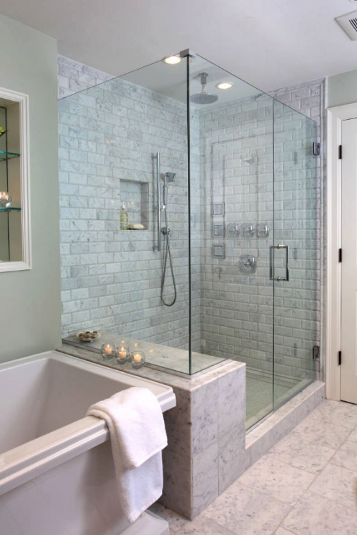 Brick Wall Walk In Shower Bathroom Remodel Shower Bathroom Remodel Master Small Bathroom