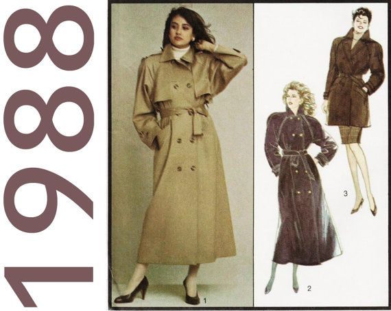 Womens Trench Coat Pattern Style 1191 Bust 32 34 Quot Uncut