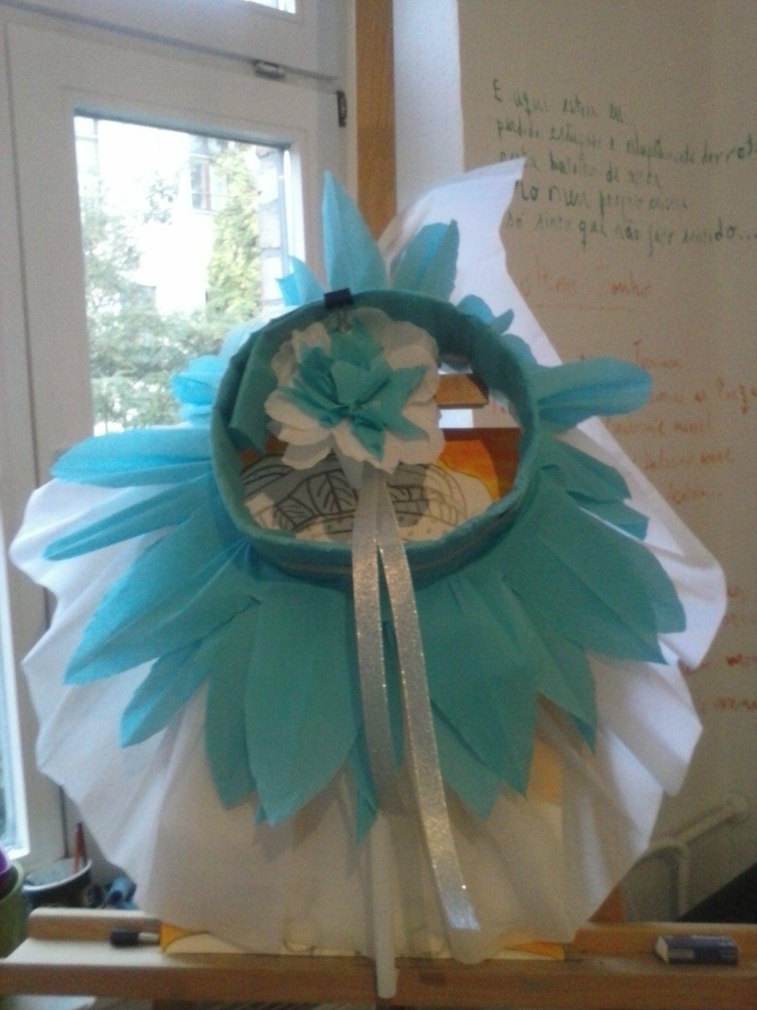saia e tiara com flor, em papel crepe - ballet