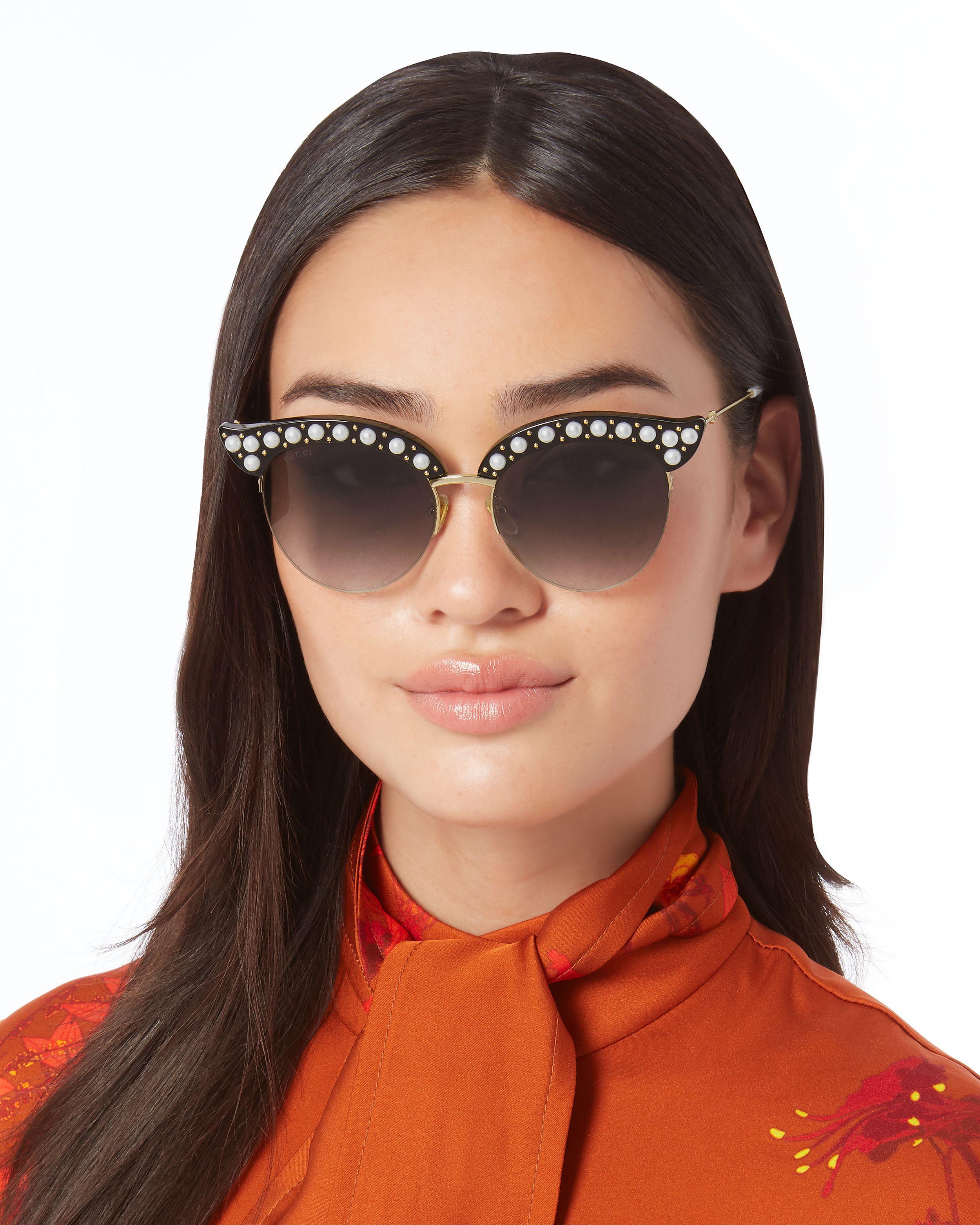 1ce0082b5e Faux Pearl-Embellished Cat Eye Sunglasses