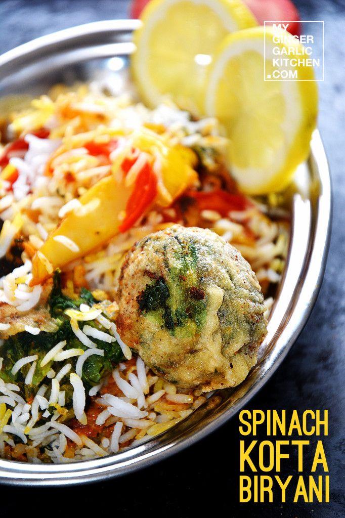 Spinat Kofta Biryani Vegetarisch Rezept - meine Ingwer Knoblauch - meine vegane küche