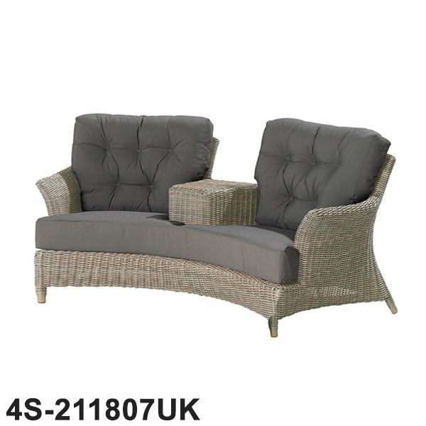 4 Seasons Outdoor - Valentine Rattan Love Seat With 4 Cushions