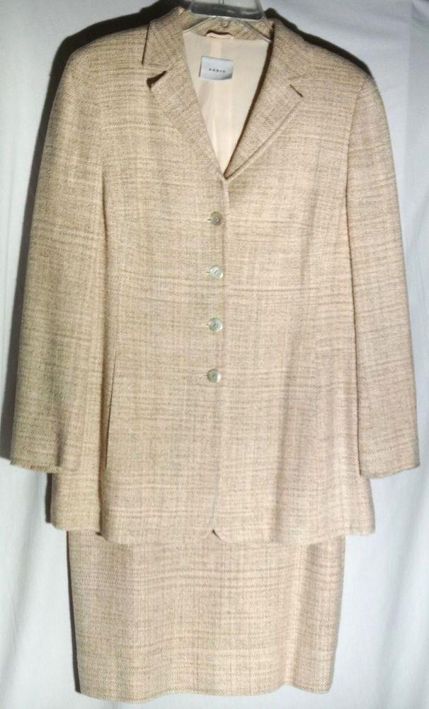 AKRIS Silk Tweedy Fabric - Cream-Shades of Pink and Sage - Longer Jacket - US 12 #Akris #SkirtSuit