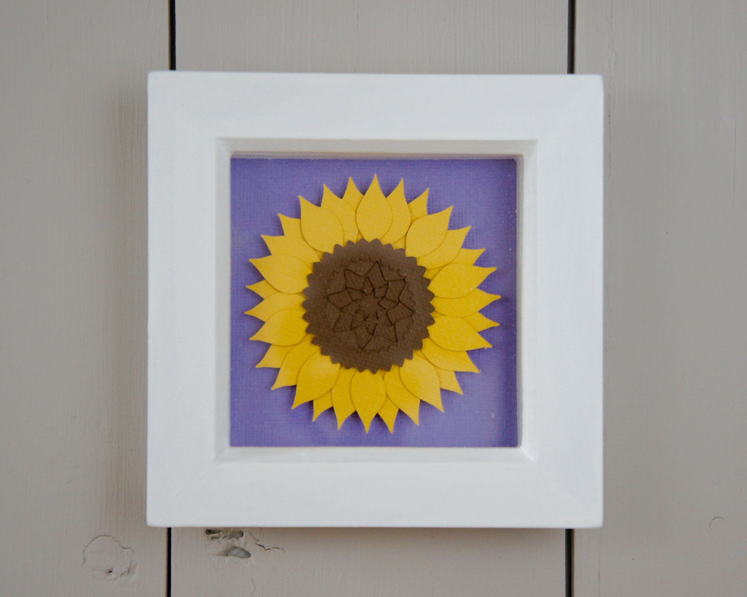 Sunflower Papercut In White Frame, Small Framed Layered Papercut, Bright
