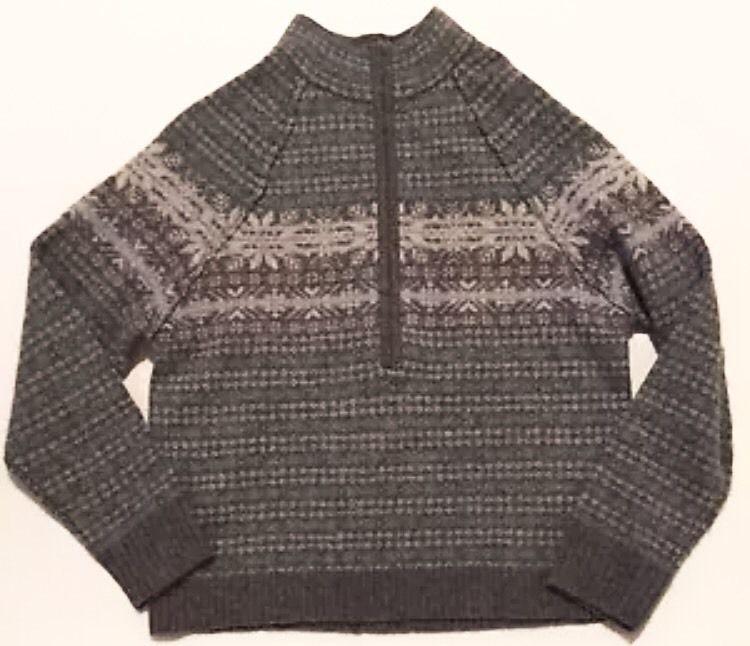 Woolrich Fair Isle Sweater M Gray White Half Zip Pullover Wool ...