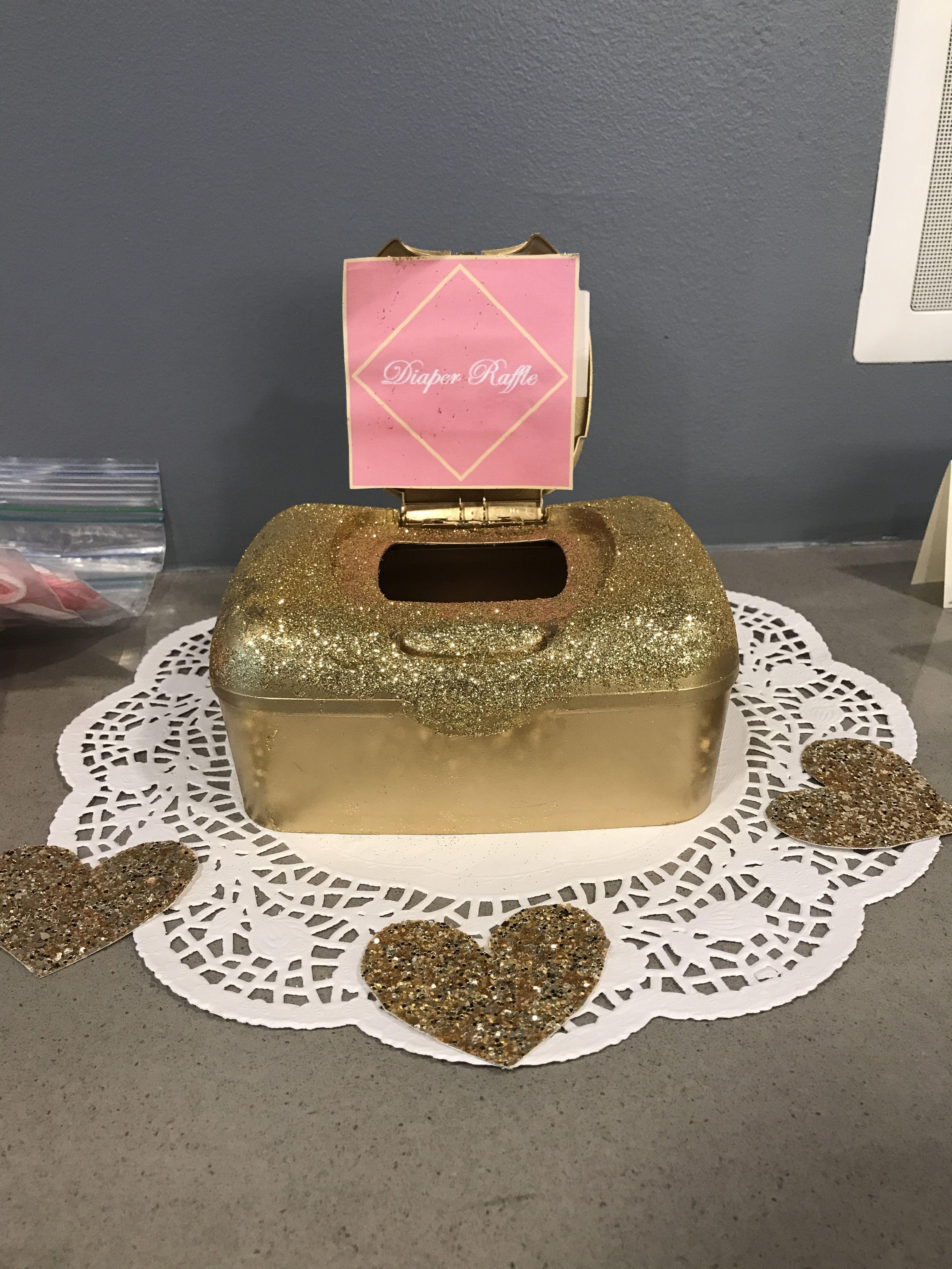 Glitter diaper raffle box baby shower game pink gold