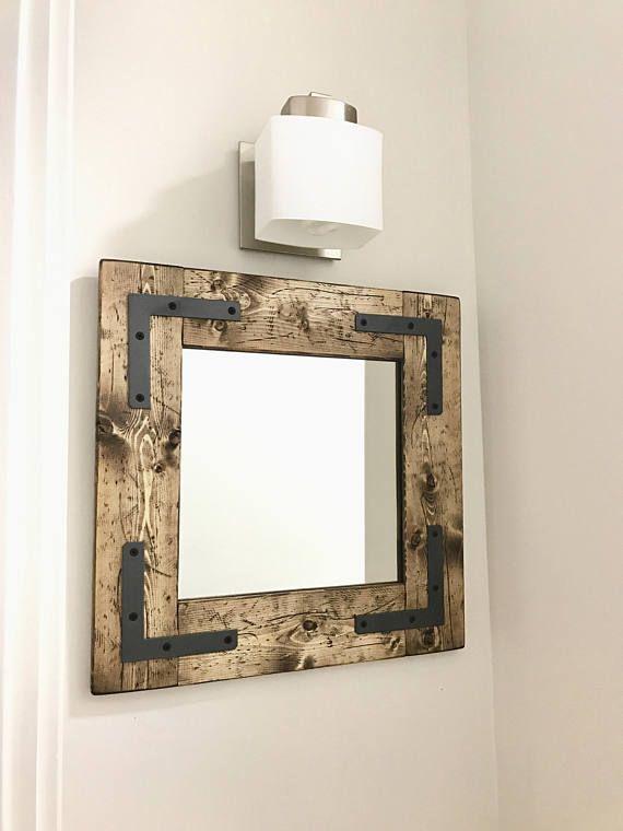 Rustic Modern Small Decorative Mirrors Hallway Wood Mirror Bathroom Entryway Lake