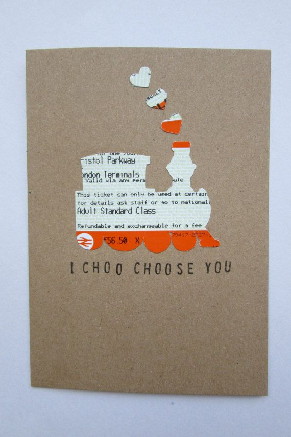 I Choo Choose You Train Ticket Greeting Card is part of Choo Choo Choose You Etsy -  Looking for the perfect card for your loved one for Valentines Day  Look no further! Handcut out of genuine, salvaged train tickets from across the UK, every card is made from a unique combination of ticket parts, ensuring a totally oneofakind gift  Hand printed on the front, inside is left blank for your own message, meaning this card is ideal for any time of the year  A6 card, packaged in cellophane and posted first class  ♥