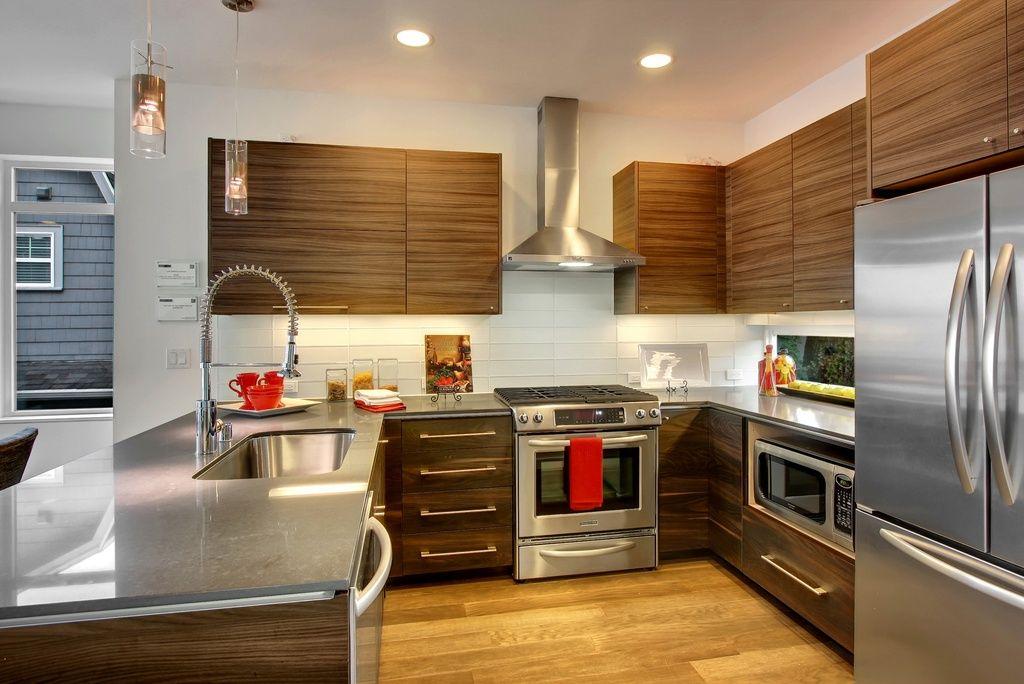 Contemporary Kitchen With Hanssem Chelsea Flat Cabinet Door, Pentalquartz  Uliano Bq8806, Concrete Counters,
