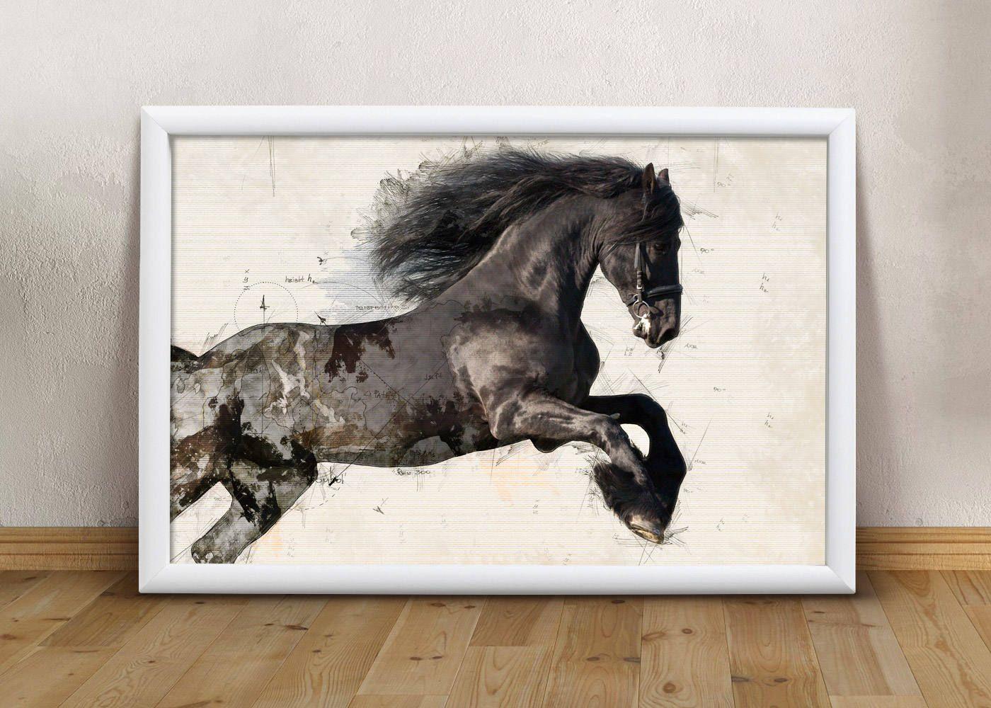 print horses print wild horse print horse printable art modern