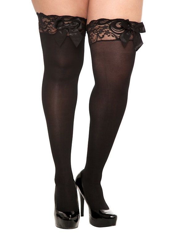 e3973091d Plus Size Black Opaque Lace Trim Bow Thigh Highs