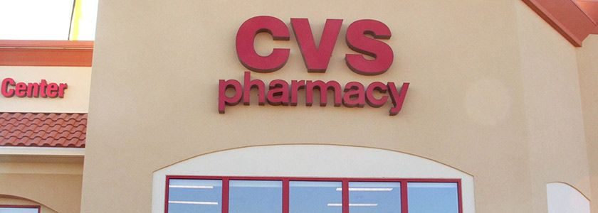 Cvs Pharmacy Pan Channel Letters Illumninated With Neon  Red