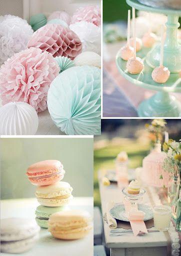 Buffet de dessert dans les tons pastels pour un mariage estival d corati - Decoration pour buffet ...