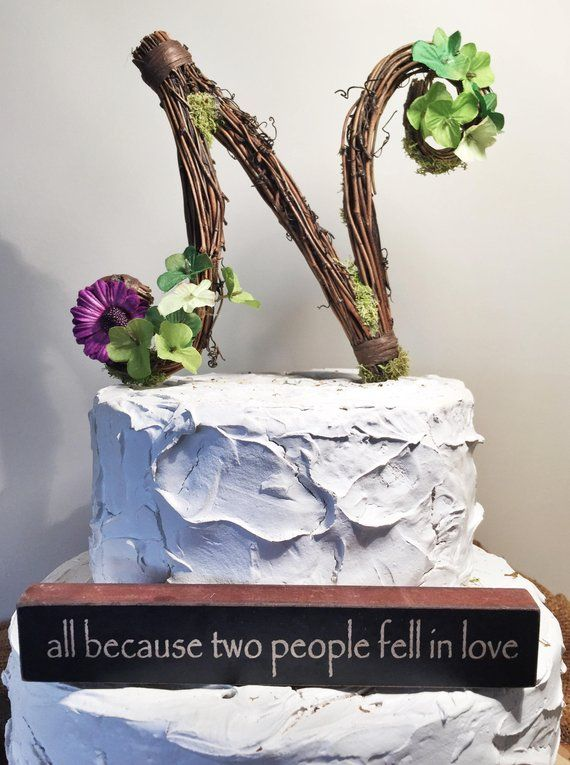 letter n twig topper n cursive grapevine topper rustic cursive cake topper rustic wedding cake topper natural handmade cake top