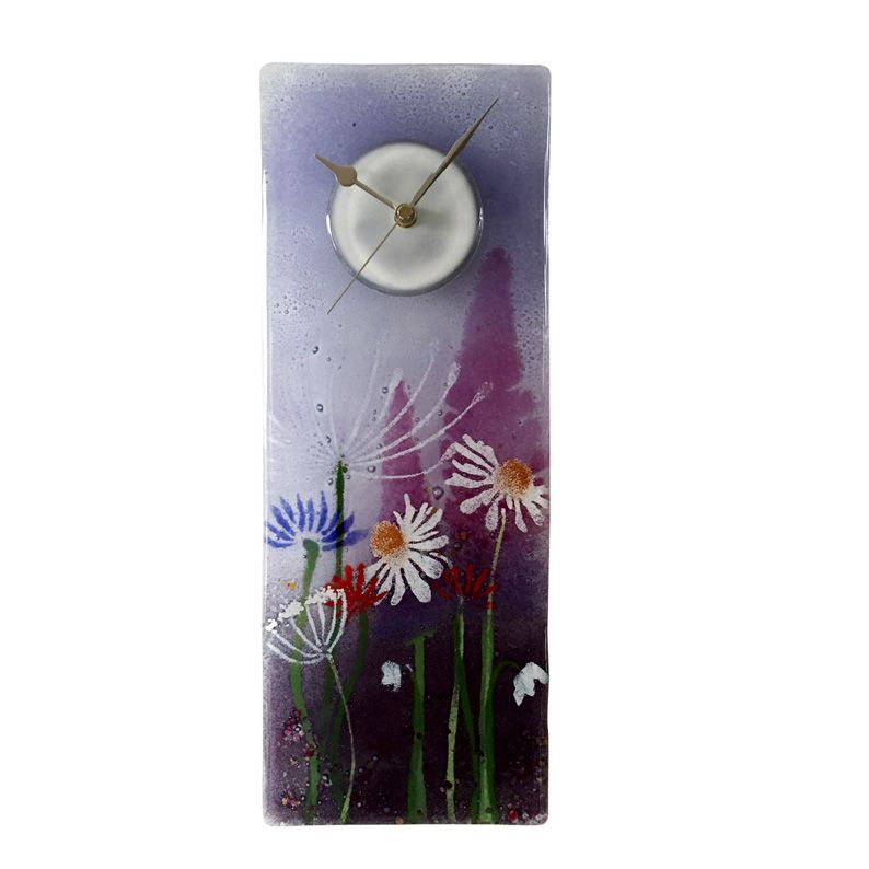 PURPLE MEADOW FUSED GLASS WALL CLOCK Glass Fused Pinterest Glass