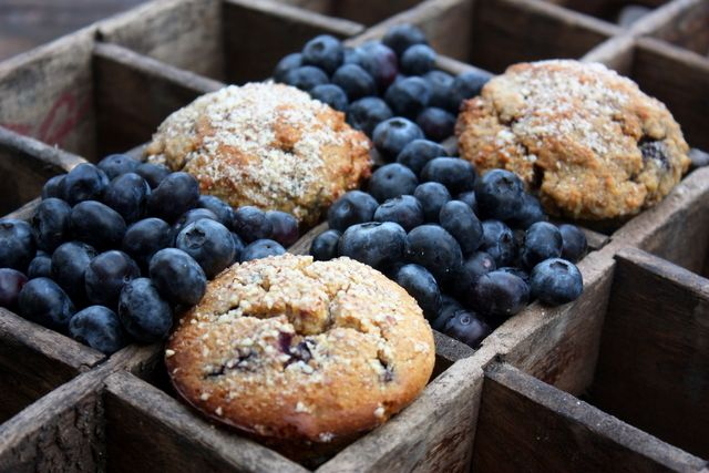 grain free blueberry almond muffins