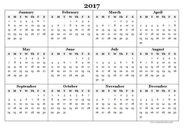 2017 Blank Yearly Calendar Template Yearly Calendar Template Calendar 2019 Template Free Calendar Template