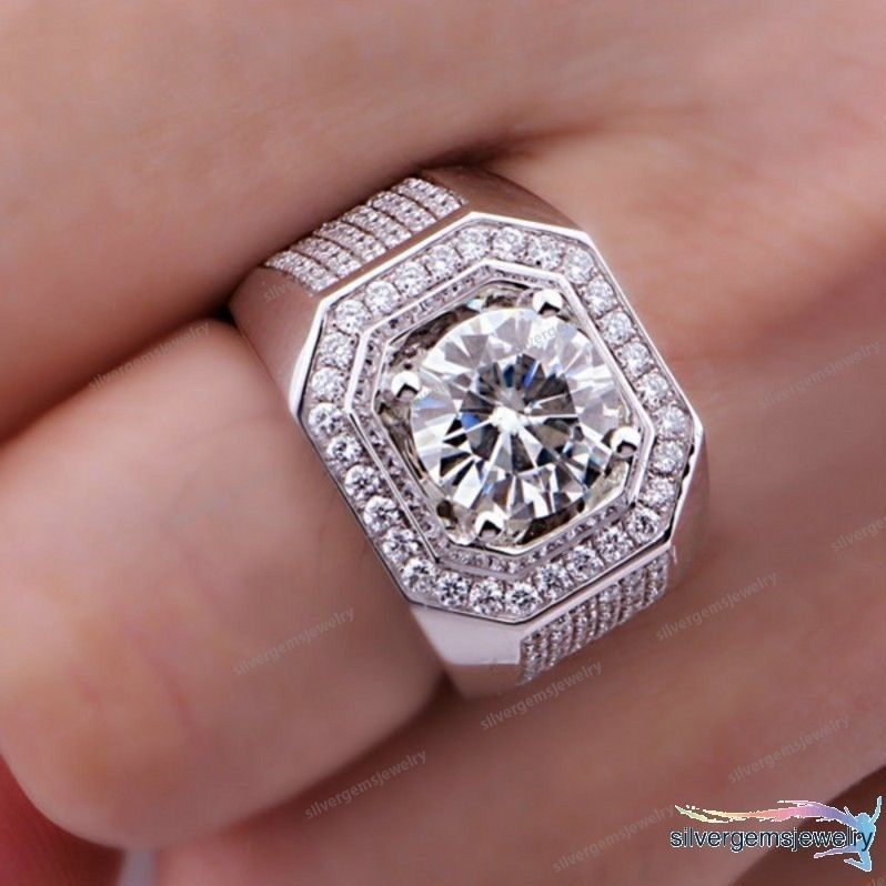 mens diamond ring .10-carats 925 sterling clubbing ice out man