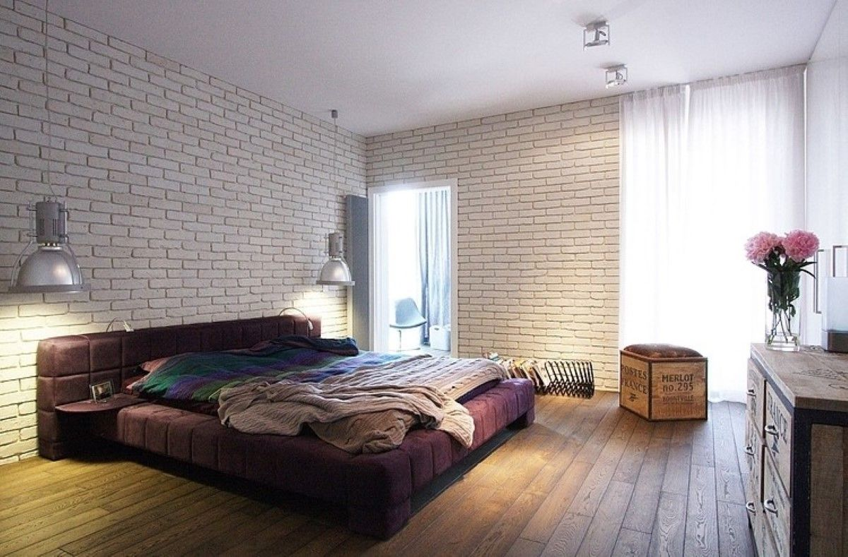 Comfortable Bedroom Ideas For Men With Wooden Flooring And White Brick Wall Plus Single
