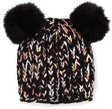 Eugenia Kim Mimi Knit Hat with Fur Pom Poms, Black/Pink