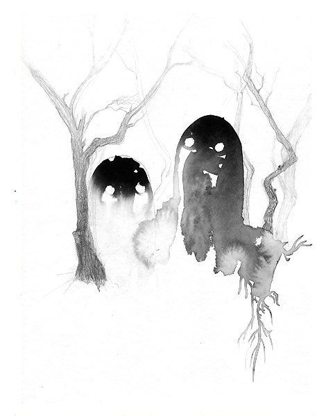 Ghosts  art print  8x10  archival  giclee  black white by artillia
